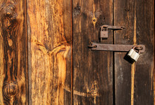 Old Door With Iron Lock