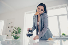 Close Up Photo Beautiful Tired She Her Lady Pour Cup Hot Beverage Croissant Inside Mouth Late Job Quickly Speak Tell Say Telephone Formal-wear Checkered Plaid Costume Bright White Kitchen Indoors