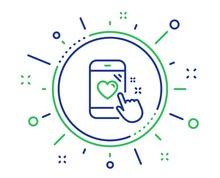 Heart Rating Line Icon. Feedback Phone Sign. Customer Satisfaction Symbol. Quality Design Elements. Technology Heart Rating Button. Editable Stroke. Vector