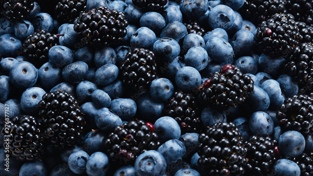 Fototapety, obrazy: Blackberry and  blueberry background. Top view.
