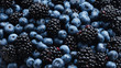 Blackberry and  blueberry background. Top view.