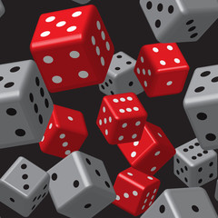 Red Gray Dice Seamless Patt...