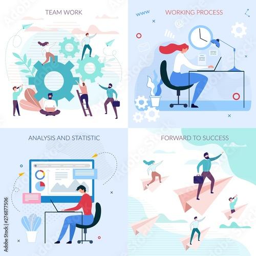 Photo  Business Workflow Process Flat Cartoon Cards Set