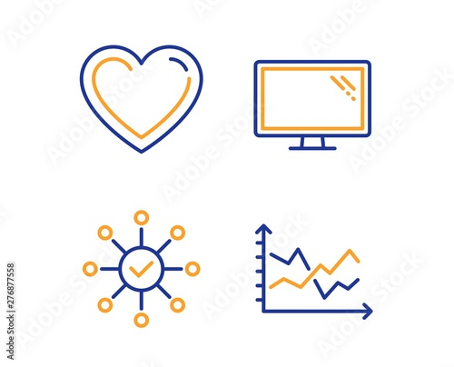 Survey Check Heart And Monitor Icons Simple Set Diagram