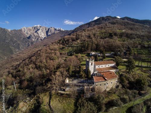 La Cappella di Azzano e il monte Altissimo Canvas Print