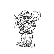Cool Gnome With Tattoos In Hat Smoking Pipe, Hand Drawn Outline Doodle Sketch Vector Illustration, Perfect For Card, Invitation, Greeting Design