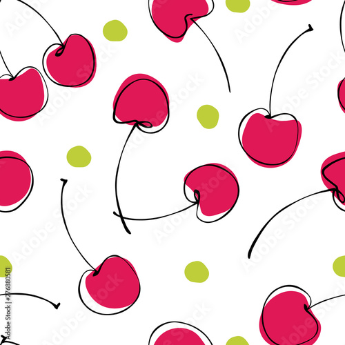 Fotografía Seamless pattern of abstract  hand drawn berries cherry on white background