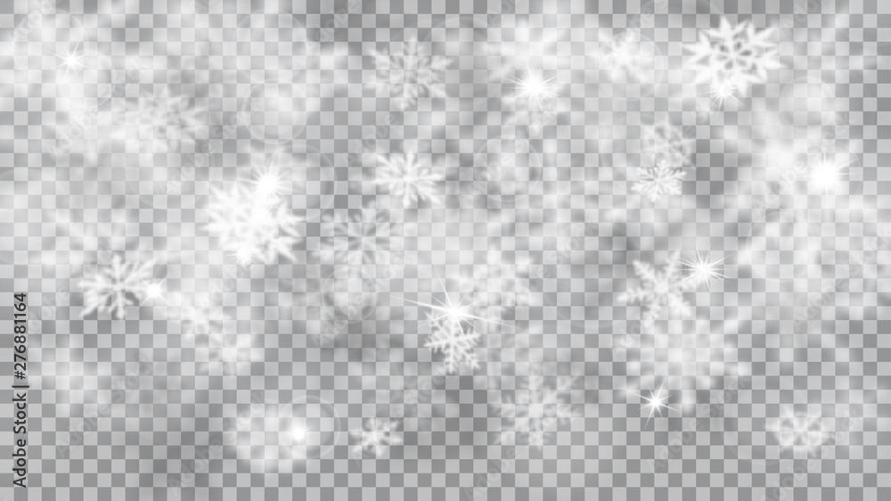 Fototapety, obrazy: Christmas blurred illustration of complex defocused big and small falling snowflakes in white and gray colors with bokeh effect on transparent background