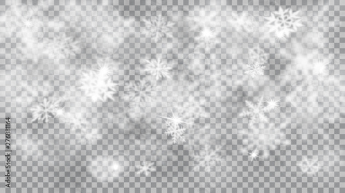 Deurstickers Graffiti collage Christmas blurred illustration of complex defocused big and small falling snowflakes in white and gray colors with bokeh effect on transparent background