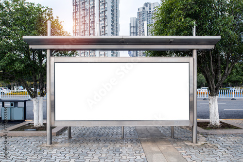 Obraz na płótnie The bus stop shelters and advertising light boxes