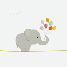Cute Elephant With Colorful Ba...