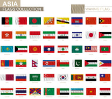 National Flag Of Asian Countries With Waving Effect, Official Proportion.