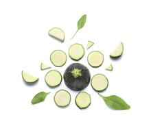 Cut Zucchini Squashes On White Background