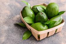 Box With Fresh Ripe Avocados O...
