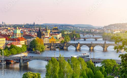 Bridges over Vltava river in Prague at sunset, Czech Republic Canvas Print