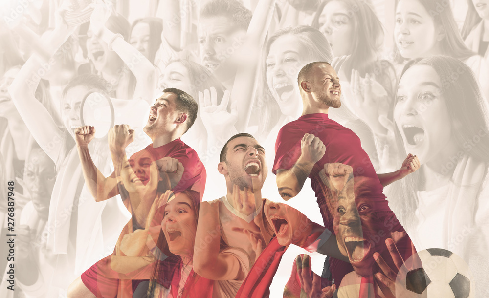 Fototapety, obrazy: Male football players emotional celebrating. Sportsmen of red and blue team after the goal. Soccer or football fans. Creative collage of 12 people. Movement, action, motion, sport and healthy