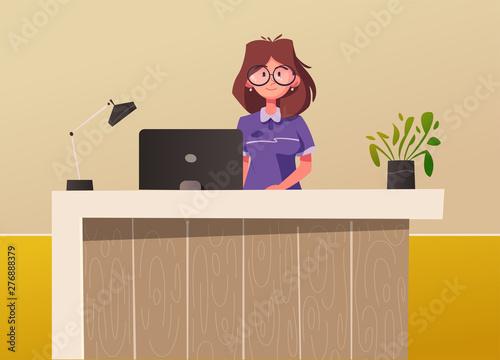 Reception Desk Hotel Receptionist Character Cartoon Vector Illustration Buy This Stock Vector And Explore Similar Vectors At Adobe Stock Adobe Stock