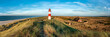 canvas print picture Red Lighthouse on the island of Sylt in North Frisia, Schleswig-Holstein, Germany