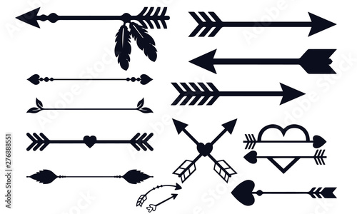 arrow decoration collection black and white Canvas Print
