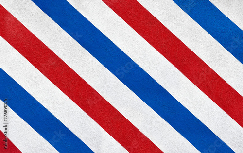 barbershop three colour painted plaster wall
