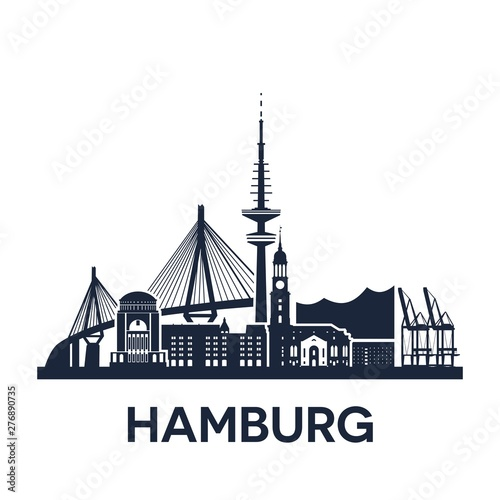 Fotomural  Hamburg city skyline, Germany, extended version, solid color