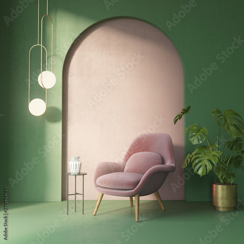 Light green and pink interior with a dusky pink armchair