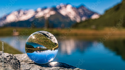 Crystal ball alpine landscape shot at Rauris, Salzburg, Austria