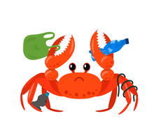Sea Crab Entangled In Plastic On The Background Of Landfills And Garbage Bags On The Beach. Coastal Polluted Human Waste. Take Care Of Nature. Flat Vector Illustration