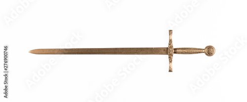 Photo golden sword isolated on white background