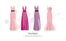 Long Dresses Vector Watercolor. Evening Gowns Beautiful Elegance