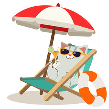 The Screen Of Summer Poster On The White Background. Cat Sleeping Under Of The Big Umbrella And Sitting On The Beach Chair And Next Is Life Ring On The White Background. A Cute Cat In Flat Vector Styl
