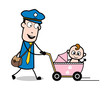 Going with Baby - Retro Postman Cartoon Courier Guy Vector Illustration