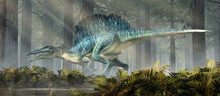 A Spinosaurus In A Forest.  Sp...