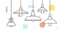 Industrial Loft Metal Pendant Light Hanging Lamp Edison Bulb Lighting Vector Icon Illustration Outline Line Furniture