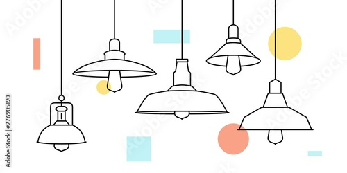 industrial loft metal pendant light hanging lamp edison bulb lighting vector icon illustration outline line furniture buy this stock vector and explore similar vectors at adobe stock adobe stock industrial loft metal pendant light