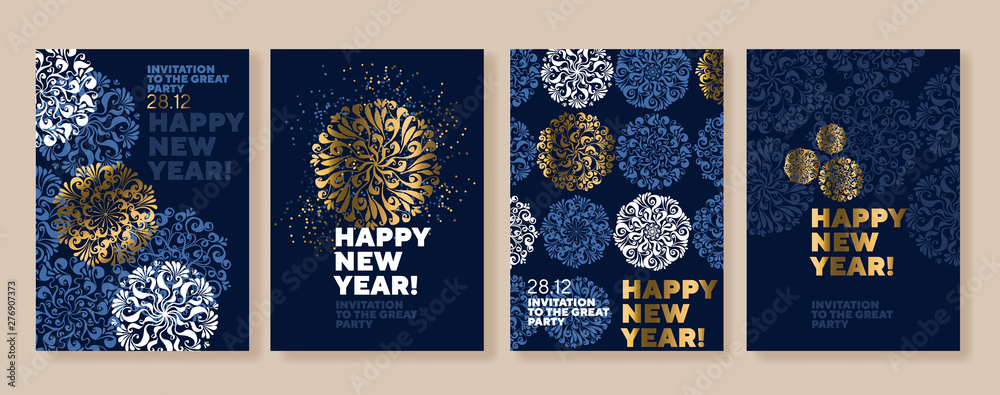 Fototapeta Xmas holiday elegant luxury snowflake poster set