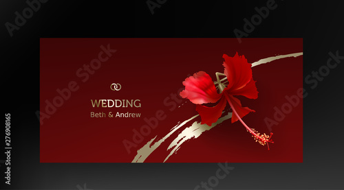 Tropical Red Hibiscus On Maroon Background Vector Beautiful