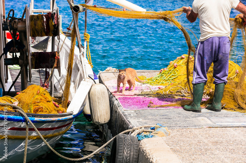 Authentic traditional Greece - scene with fisherman and cat avaiting the fish. Leros island, Agia Marina port