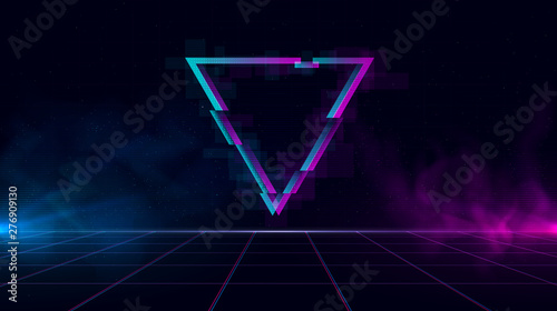 Fototapeta Retrowave background with sparkling glitched triangle and blue and purple glows with smoke