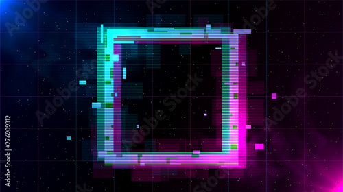 фотографія Retrowave Glitch Square with sparkling and blue and purple glows with smoke
