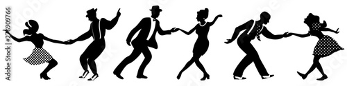 Set of three negative dancing couples silhouettes on white background Canvas Print