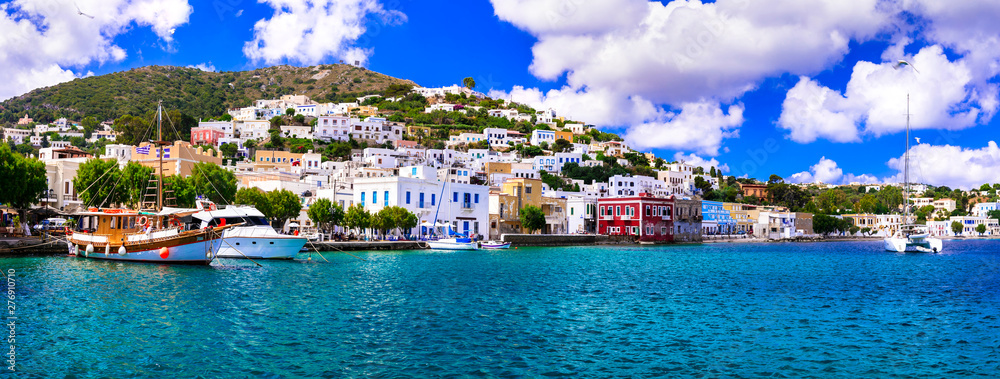 Fototapety, obrazy: Beautiful traditional Greek island Leros. Dodecanese. view of Agia Marina village and port