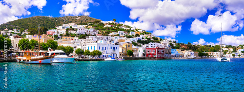 Spoed Foto op Canvas Purper Beautiful traditional Greek island Leros. Dodecanese. view of Agia Marina village and port