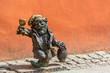 Leinwanddruck Bild - Franek dwarf gnome sculpture, symbol of Wroclaw, Poland