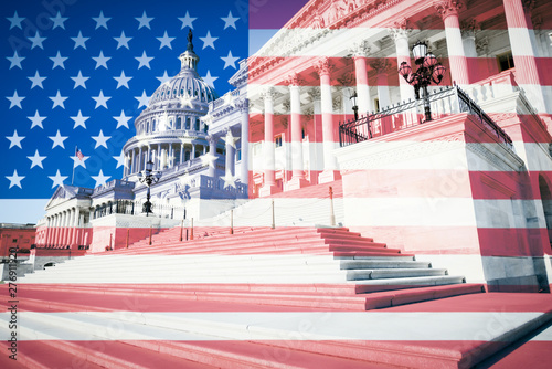 Abstract overlay of American flag against the Washington DC