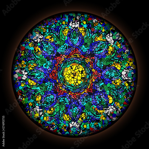 Fotografie, Obraz  Colorful pattern in style of Gothic stained glass window with round frame