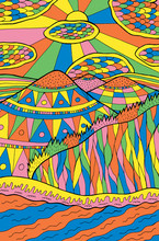 Cartoon Doodle Landscape. Mountains, River, Clouds, Sun, Forest. Colorful Psychedelic Artwork. Vector Art Illustration