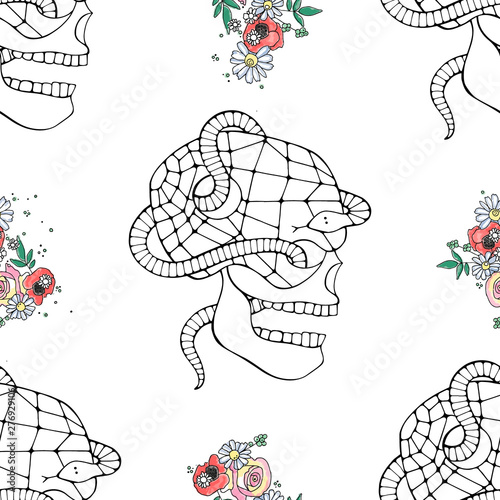 Printed kitchen splashbacks Watercolor skull Vector illustration seamless pattern of skull with watercolor flowers, spider web, tooth, snake, face of human Print horror Mexican style, day of the dead, halloween. Sketch, doodle drawing.