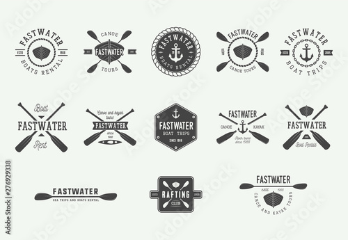 Photo  Set of diving logos, labels and slogans in vintage style