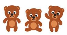 Cute Funny Teddy Bear (standing, Sitting, Waiving) - Set Of Three Bears Cartoon Vector Illustrations
